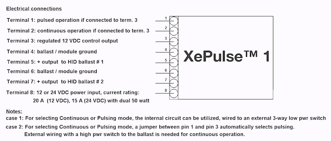 XeVision XePulse wiring recommendations